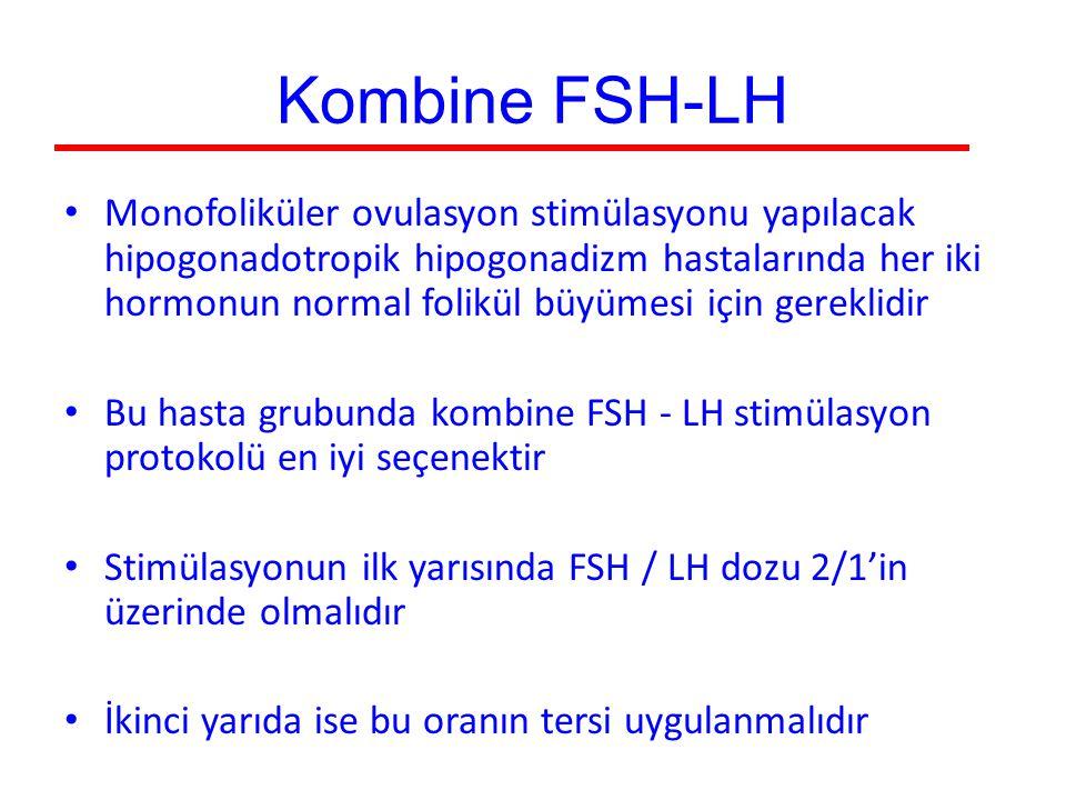 Kombine FSH-LH Monofoliküler ovulasyon stimülasyonu yapılacak hipogonadotropik hipogonadizm hastalarında her iki hormonun normal folikül büyümesi için