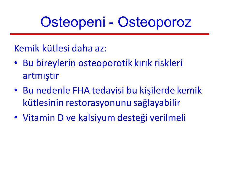 Osteopeni - Osteoporoz Kemik kütlesi daha az: Bu bireylerin osteoporotik kırık riskleri artmıştır Bu nedenle FHA tedavisi bu kişilerde kemik kütlesini