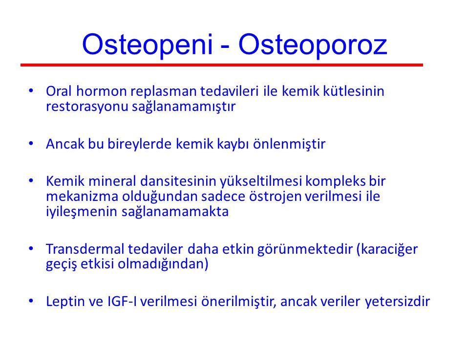 Osteopeni - Osteoporoz Oral hormon replasman tedavileri ile kemik kütlesinin restorasyonu sağlanamamıştır Ancak bu bireylerde kemik kaybı önlenmiştir
