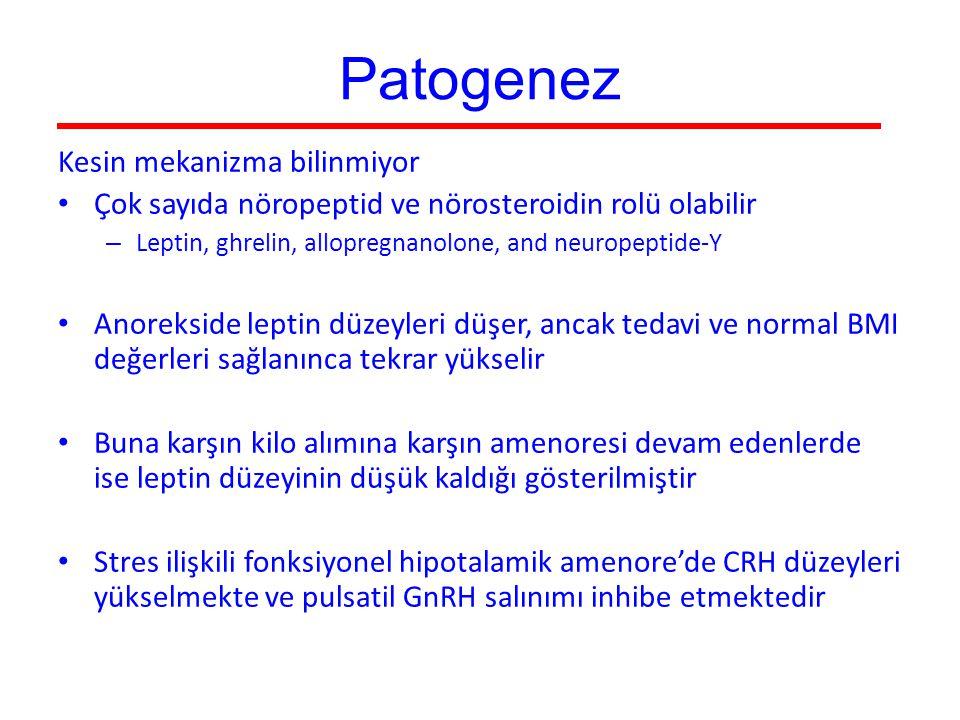 Patogenez Kesin mekanizma bilinmiyor Çok sayıda nöropeptid ve nörosteroidin rolü olabilir – Leptin, ghrelin, allopregnanolone, and neuropeptide-Y Anor