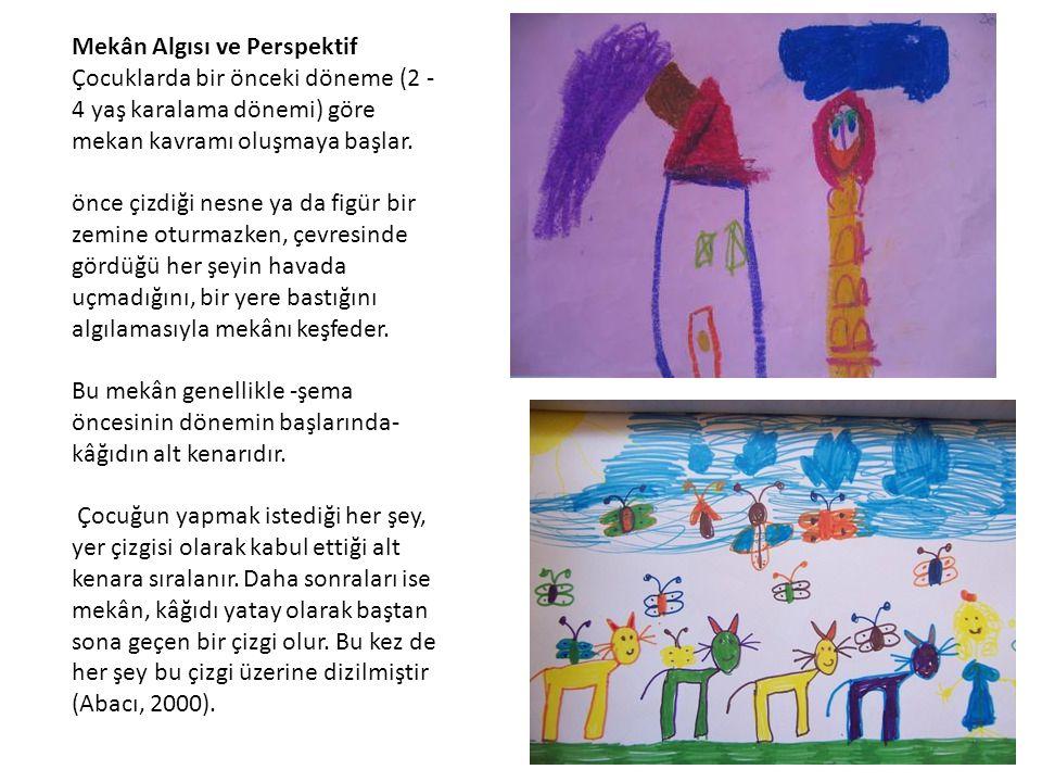 Mekân Algısı ve Perspektif Çocuklarda bir önceki döneme (2 - 4 yaş karalama dönemi) göre mekan kavramı oluşmaya başlar. önce çizdiği nesne ya da figür