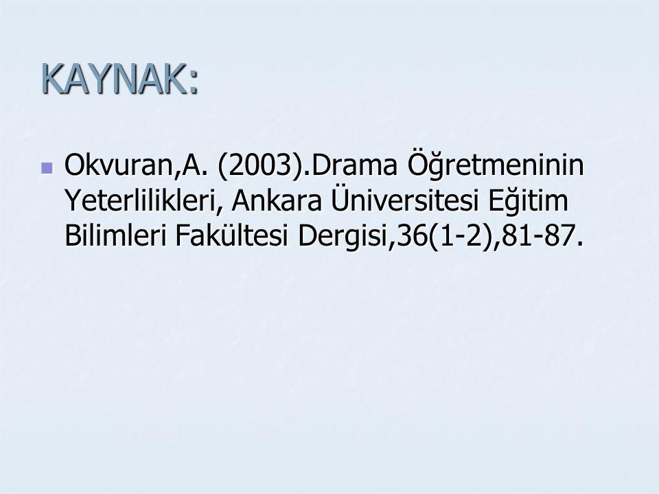 KAYNAK: Okvuran,A. (2003).Drama Öğretmeninin Yeterlilikleri, Ankara Üniversitesi Eğitim Bilimleri Fakültesi Dergisi,36(1-2),81-87. Okvuran,A. (2003).D