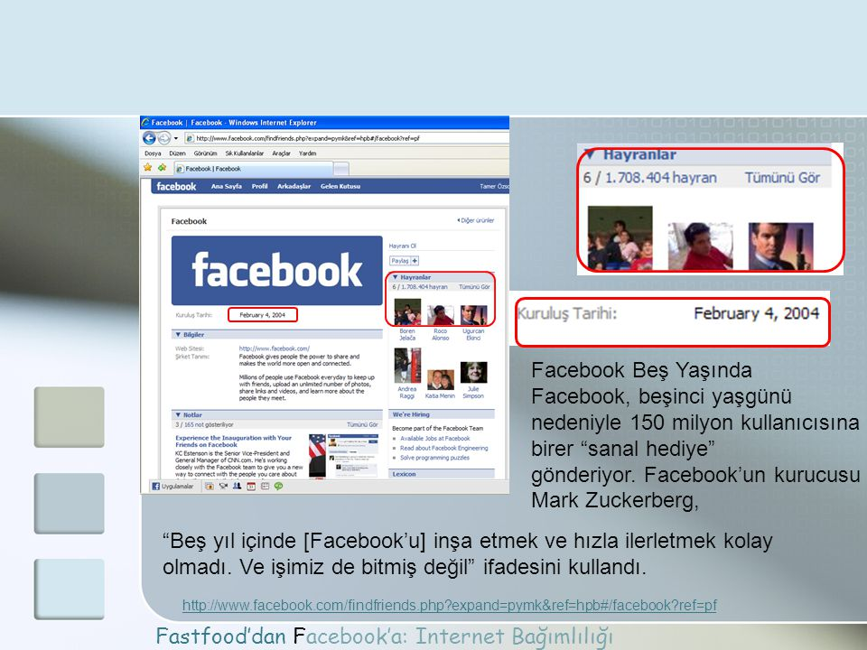 Fastfood'dan Facebook'a: Internet Bağımlılığı http://www.facebook.com/findfriends.php?expand=pymk&ref=hpb#/facebook?ref=pf Facebook Beş Yaşında Facebo