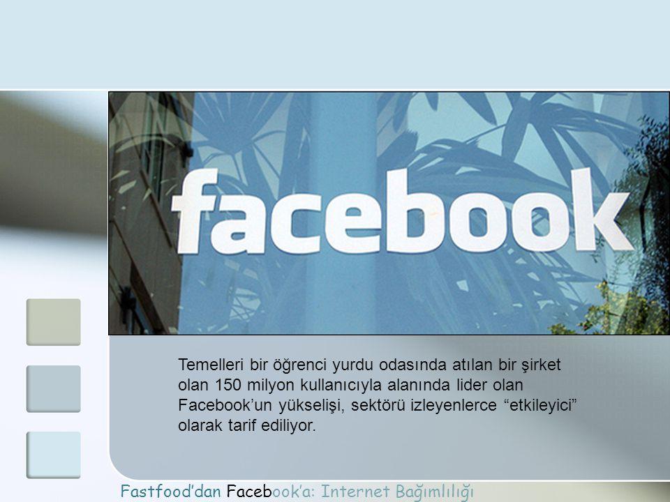 Fastfood'dan Facebook'a: Internet Bağımlılığı Temelleri bir öğrenci yurdu odasında atılan bir şirket olan 150 milyon kullanıcıyla alanında lider olan
