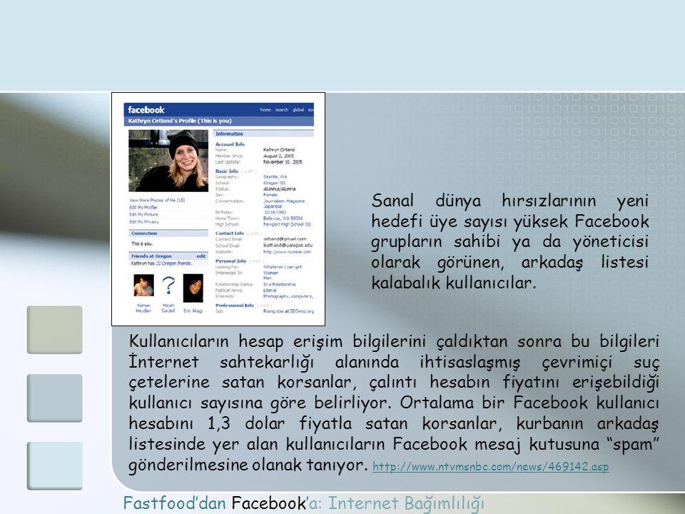 Fastfood'dan Facebook'a: Internet Bağımlılığı Sanal dünya hırsızlarının yeni hedefi üye sayısı yüksek Facebook grupların sahibi ya da yöneticisi olara