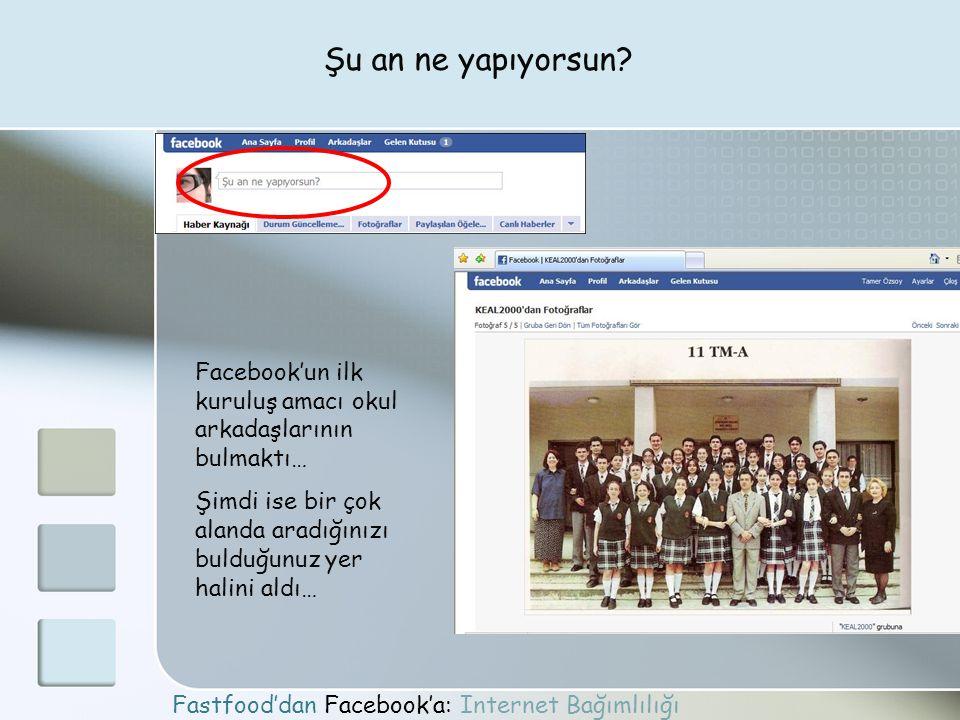 Fastfood'dan Facebook'a: Internet Bağımlılığı Şu an ne yapıyorsun? Facebook'un ilk kuruluş amacı okul arkadaşlarının bulmaktı… Şimdi ise bir çok aland