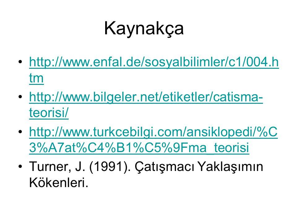 Kaynakça http://www.enfal.de/sosyalbilimler/c1/004.h tmhttp://www.enfal.de/sosyalbilimler/c1/004.h tm http://www.bilgeler.net/etiketler/catisma- teori