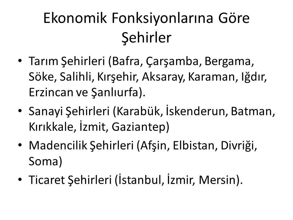 Ekonomik Fonksiyonlarına Göre Şehirler Tarım Şehirleri (Bafra, Çarşamba, Bergama, Söke, Salihli, Kırşehir, Aksaray, Karaman, Iğdır, Erzincan ve Şanlıu