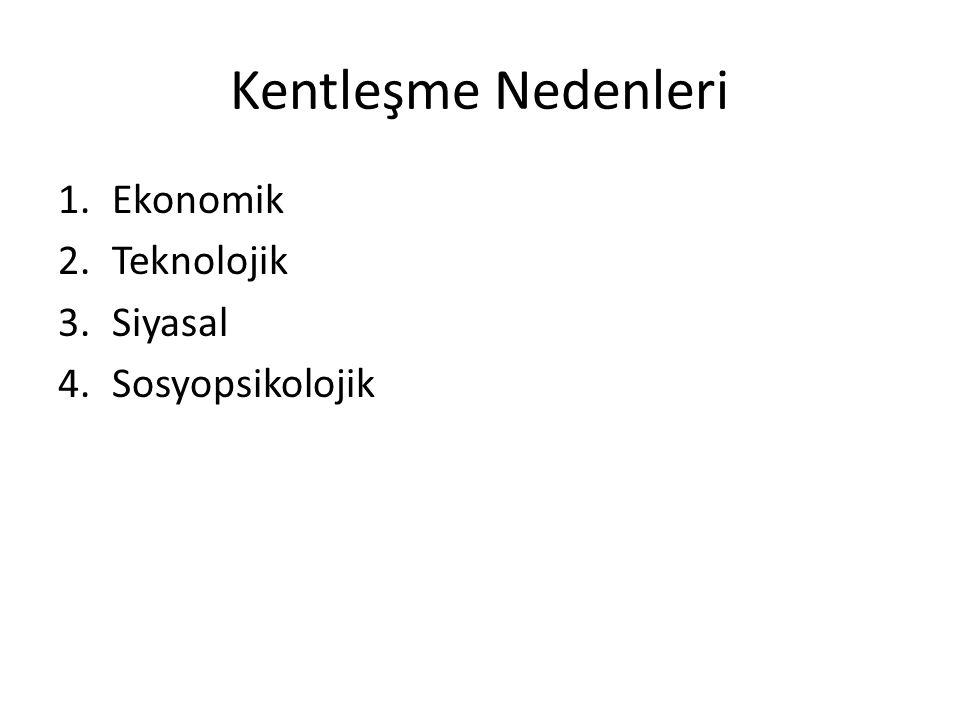 Kentleşme Nedenleri 1.Ekonomik 2.Teknolojik 3.Siyasal 4.Sosyopsikolojik