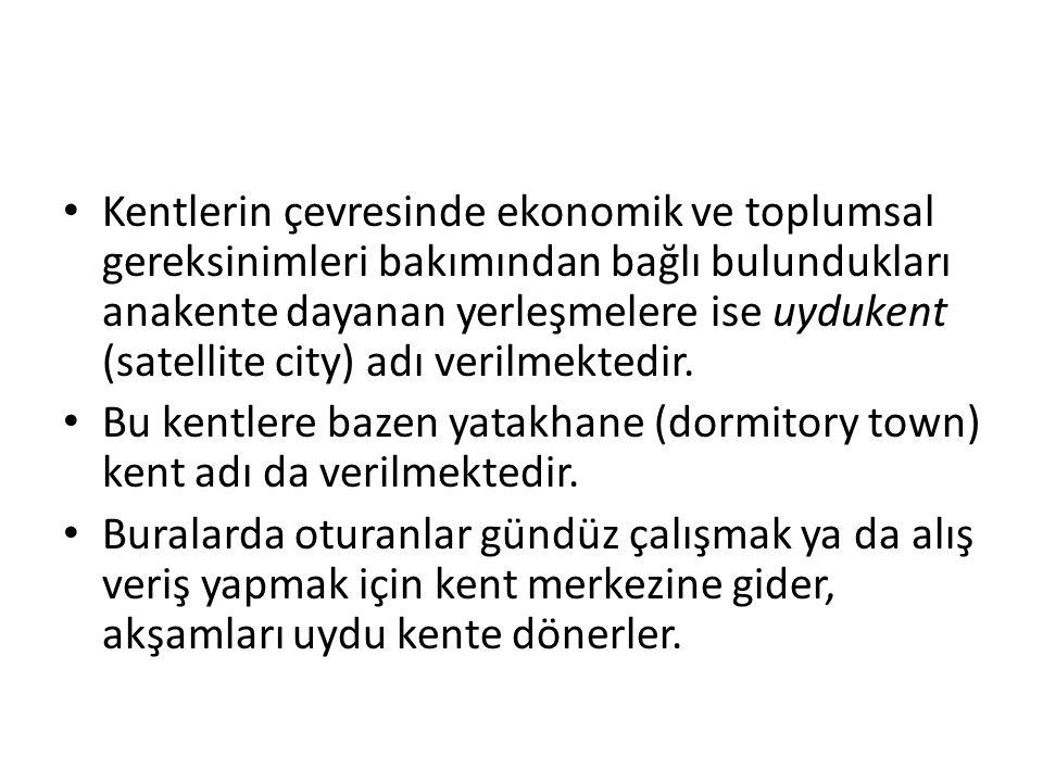 Kentlerin çevresinde ekonomik ve toplumsal gereksinimleri bakımından bağlı bulundukları anakente dayanan yerleşmelere ise uydukent (satellite city) ad