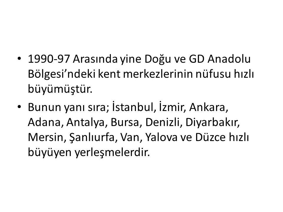 1990-97 Arasında yine Doğu ve GD Anadolu Bölgesi'ndeki kent merkezlerinin nüfusu hızlı büyümüştür. Bunun yanı sıra; İstanbul, İzmir, Ankara, Adana, An