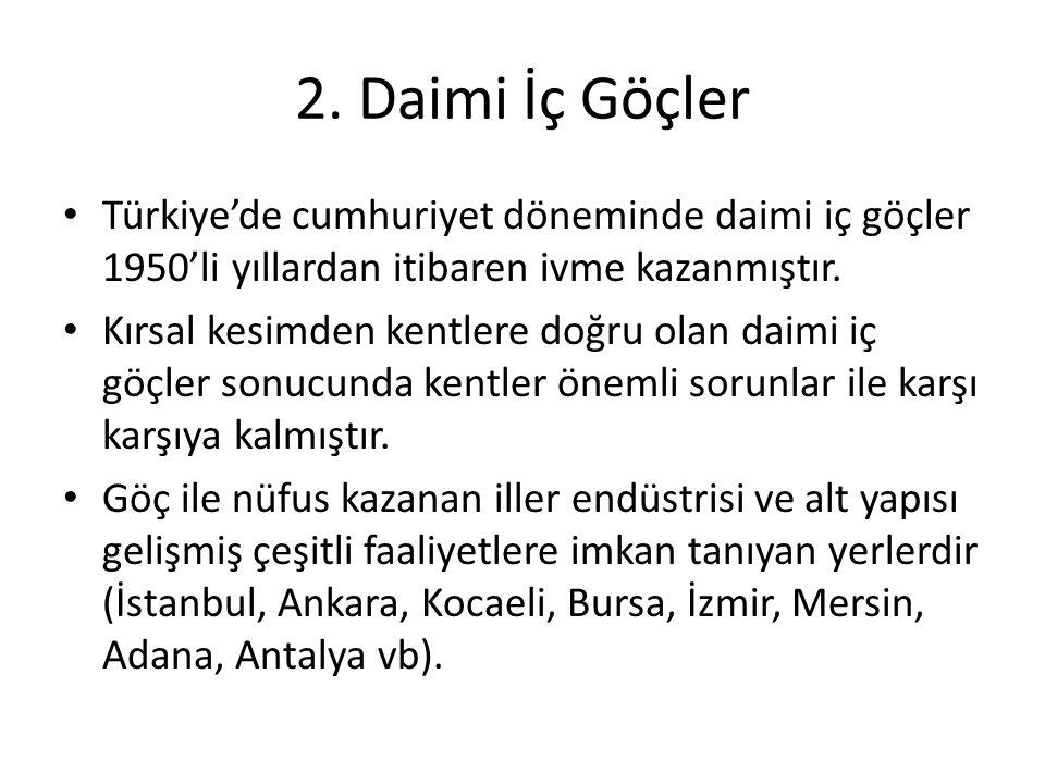 2. Daimi İç Göçler Türkiye'de cumhuriyet döneminde daimi iç göçler 1950'li yıllardan itibaren ivme kazanmıştır. Kırsal kesimden kentlere doğru olan da