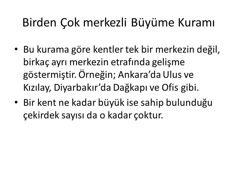 Birden Çok merkezli Büyüme Kuramı Bu kurama göre kentler tek bir merkezin değil, birkaç ayrı merkezin etrafında gelişme göstermiştir. Örneğin; Ankara'