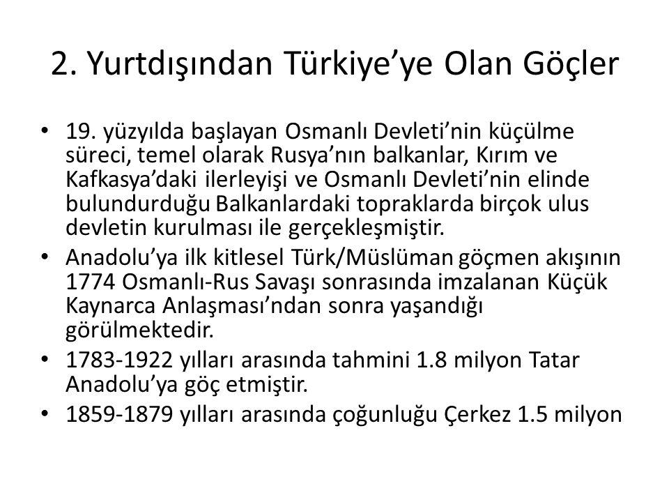 2. Yurtdışından Türkiye'ye Olan Göçler 19. yüzyılda başlayan Osmanlı Devleti'nin küçülme süreci, temel olarak Rusya'nın balkanlar, Kırım ve Kafkasya'd