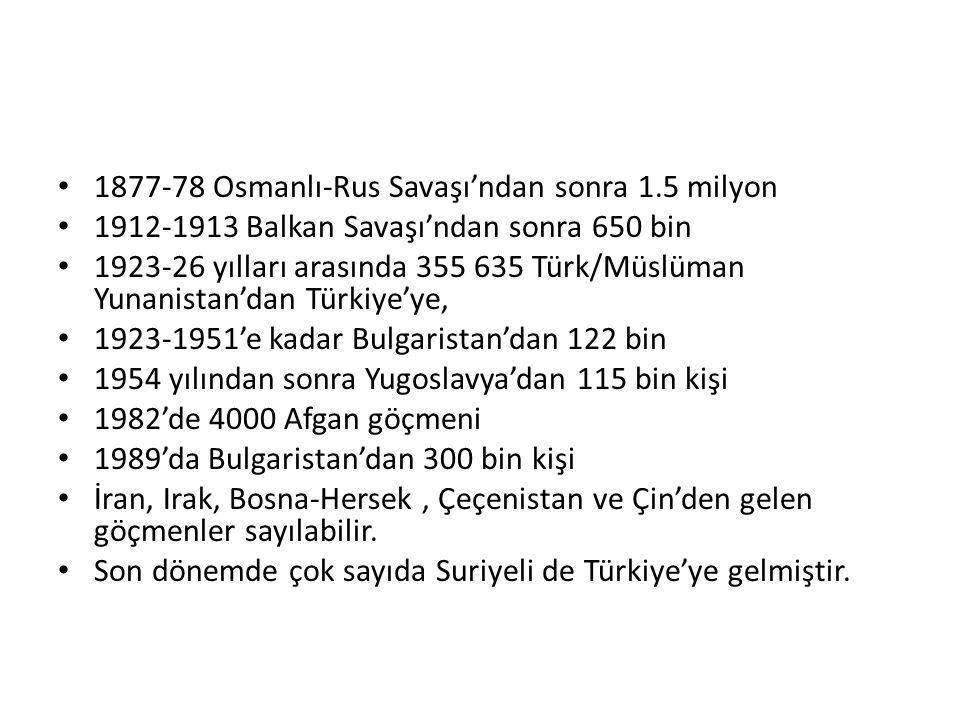 1877-78 Osmanlı-Rus Savaşı'ndan sonra 1.5 milyon 1912-1913 Balkan Savaşı'ndan sonra 650 bin 1923-26 yılları arasında 355 635 Türk/Müslüman Yunanistan'