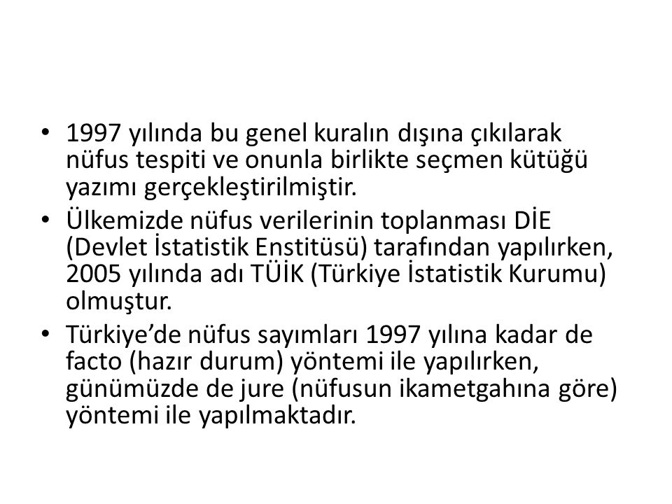 Türkiye Nüfusunun Gelişimi Türkiye nüfusu, ilk nüfus sayımından bu yana dönemler itibariyle farklı gelişim hızları gösterse de sürekli artış eğiliminde olmuştur.
