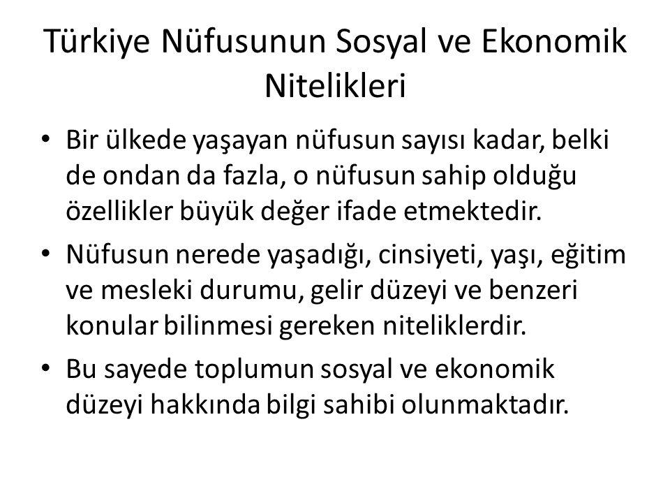 Türkiye Nüfusunun Sosyal ve Ekonomik Nitelikleri Bir ülkede yaşayan nüfusun sayısı kadar, belki de ondan da fazla, o nüfusun sahip olduğu özellikler b