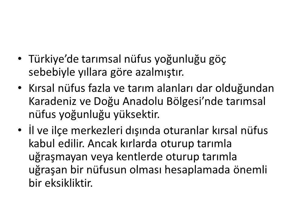 Türkiye'de tarımsal nüfus yoğunluğu göç sebebiyle yıllara göre azalmıştır. Kırsal nüfus fazla ve tarım alanları dar olduğundan Karadeniz ve Doğu Anado