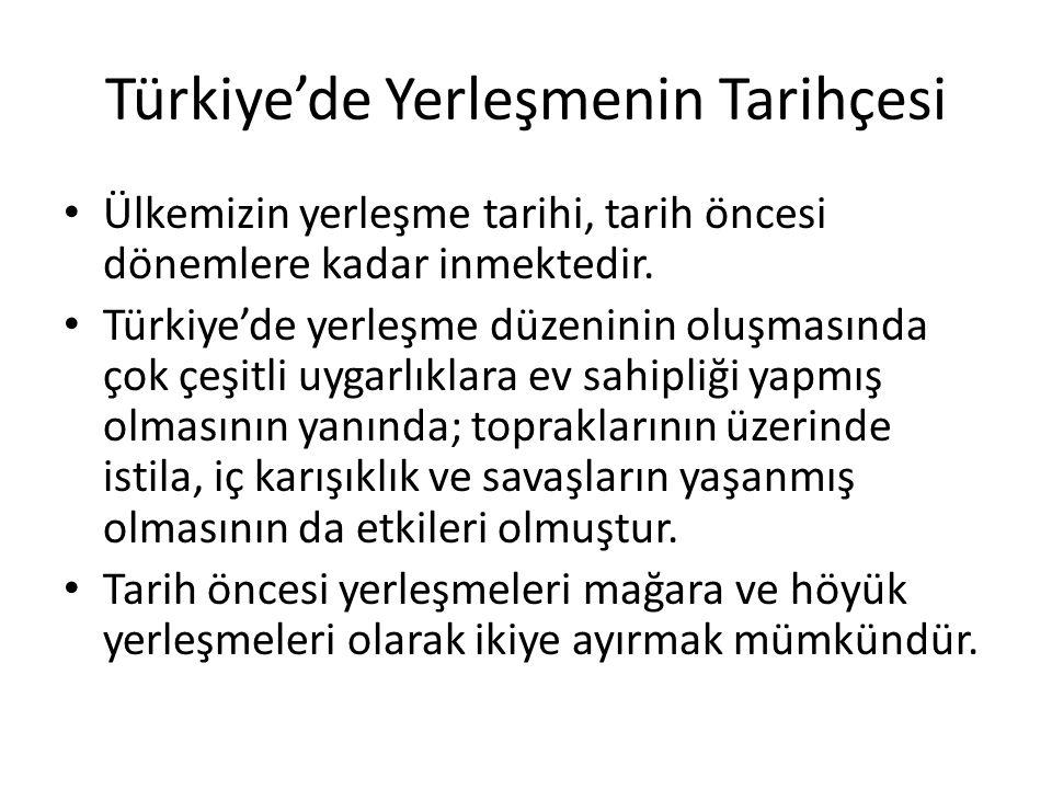 Türkiye'de Yerleşmenin Tarihçesi Ülkemizin yerleşme tarihi, tarih öncesi dönemlere kadar inmektedir. Türkiye'de yerleşme düzeninin oluşmasında çok çeş