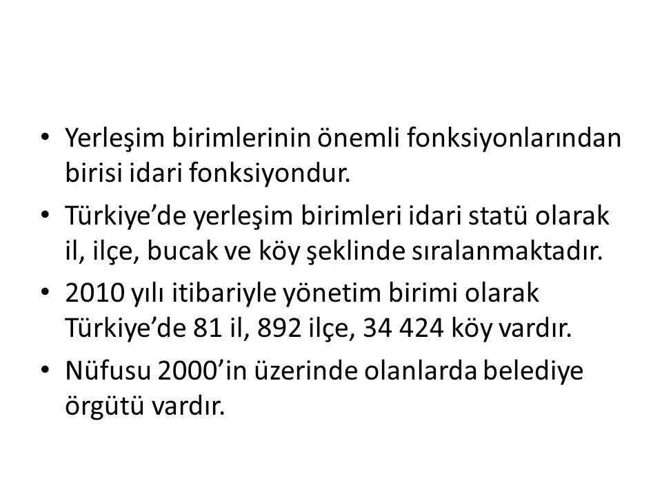 Yerleşim birimlerinin önemli fonksiyonlarından birisi idari fonksiyondur. Türkiye'de yerleşim birimleri idari statü olarak il, ilçe, bucak ve köy şekl