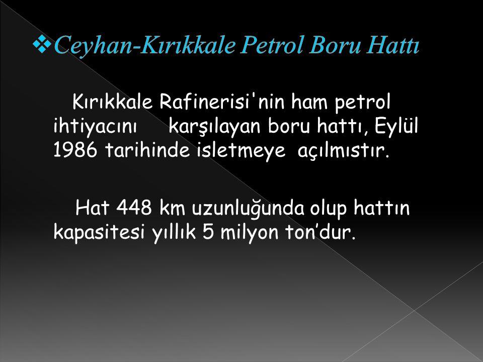 Kırıkkale Rafinerisi'nin ham petrol ihtiyacını karşılayan boru hattı, Eylül 1986 tarihinde isletmeye açılmıstır. Hat 448 km uzunluğunda olup hattın ka