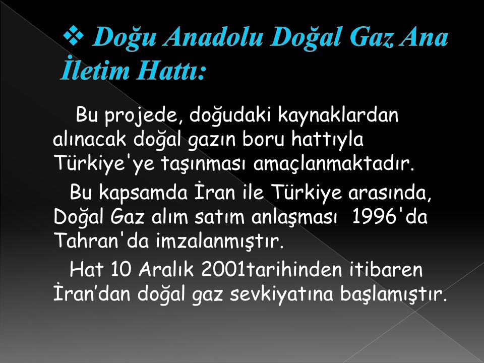 Bu projede, doğudaki kaynaklardan alınacak doğal gazın boru hattıyla Türkiye'ye taşınması amaçlanmaktadır. Bu kapsamda İran ile Türkiye arasında, Doğa