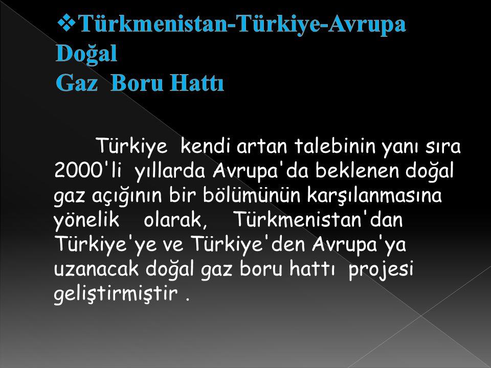 Türkiye kendi artan talebinin yanı sıra 2000'li yıllarda Avrupa'da beklenen doğal gaz açığının bir bölümünün karşılanmasına yönelik olarak, Türkmenist