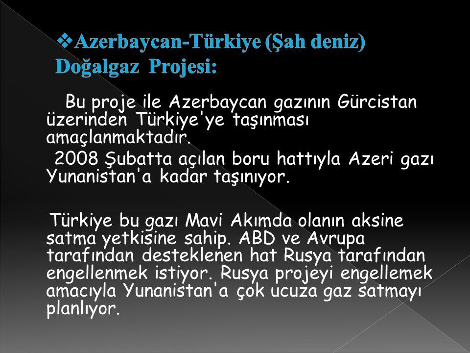 Bu proje ile Azerbaycan gazının Gürcistan üzerinden Türkiye'ye taşınması amaçlanmaktadır. 2008 Şubatta açılan boru hattıyla Azeri gazı Yunanistan'a ka