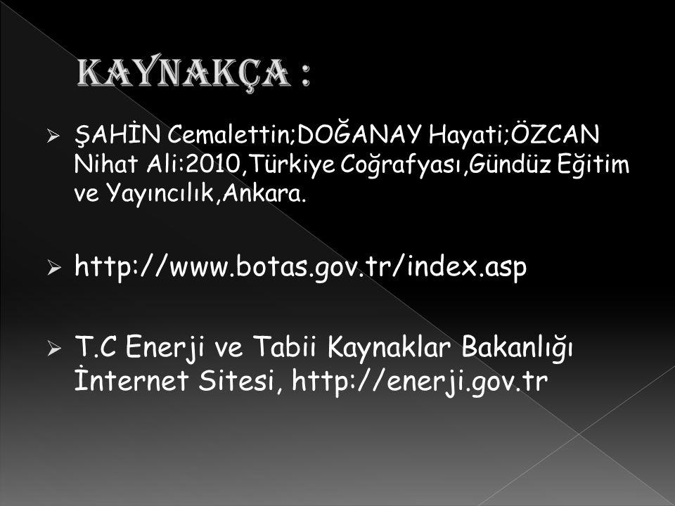 ŞAHİN Cemalettin;DOĞANAY Hayati;ÖZCAN Nihat Ali:2010,Türkiye Coğrafyası,Gündüz Eğitim ve Yayıncılık,Ankara.  http://www.botas.gov.tr/index.asp  T.