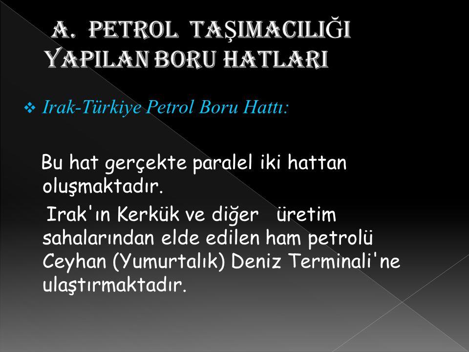 Irak-Türkiye Petrol Boru Hattı: Bu hat gerçekte paralel iki hattan oluşmaktadır. Irak'ın Kerkük ve diğer üretim sahalarından elde edilen ham petrolü