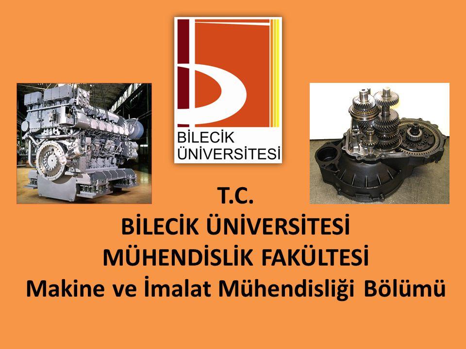 T.C. BİLECİK ÜNİVERSİTESİ MÜHENDİSLİK FAKÜLTESİ Makine ve İmalat Mühendisliği Bölümü