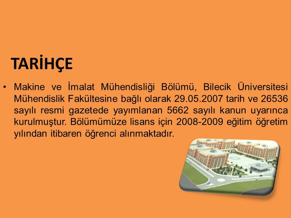 TARİHÇE Makine ve İmalat Mühendisliği Bölümü, Bilecik Üniversitesi Mühendislik Fakültesine bağlı olarak 29.05.2007 tarih ve 26536 sayılı resmi gazeted