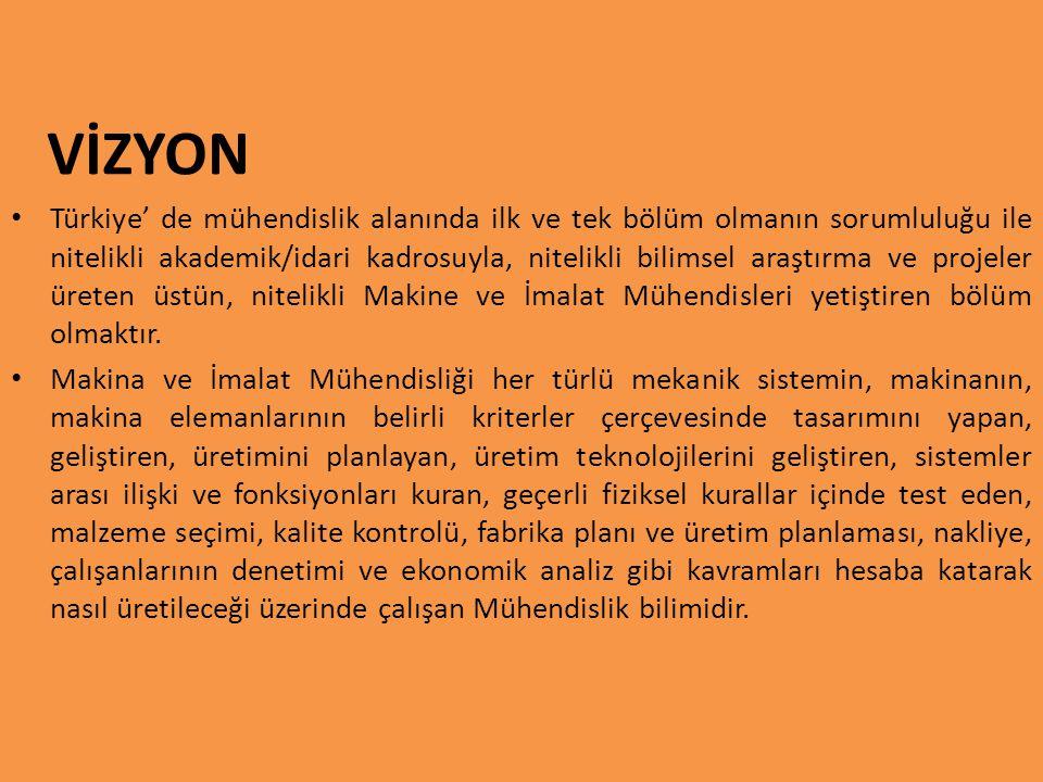 VİZYON Türkiye' de mühendislik alanında ilk ve tek bölüm olmanın sorumluluğu ile nitelikli akademik/idari kadrosuyla, nitelikli bilimsel araştırma ve