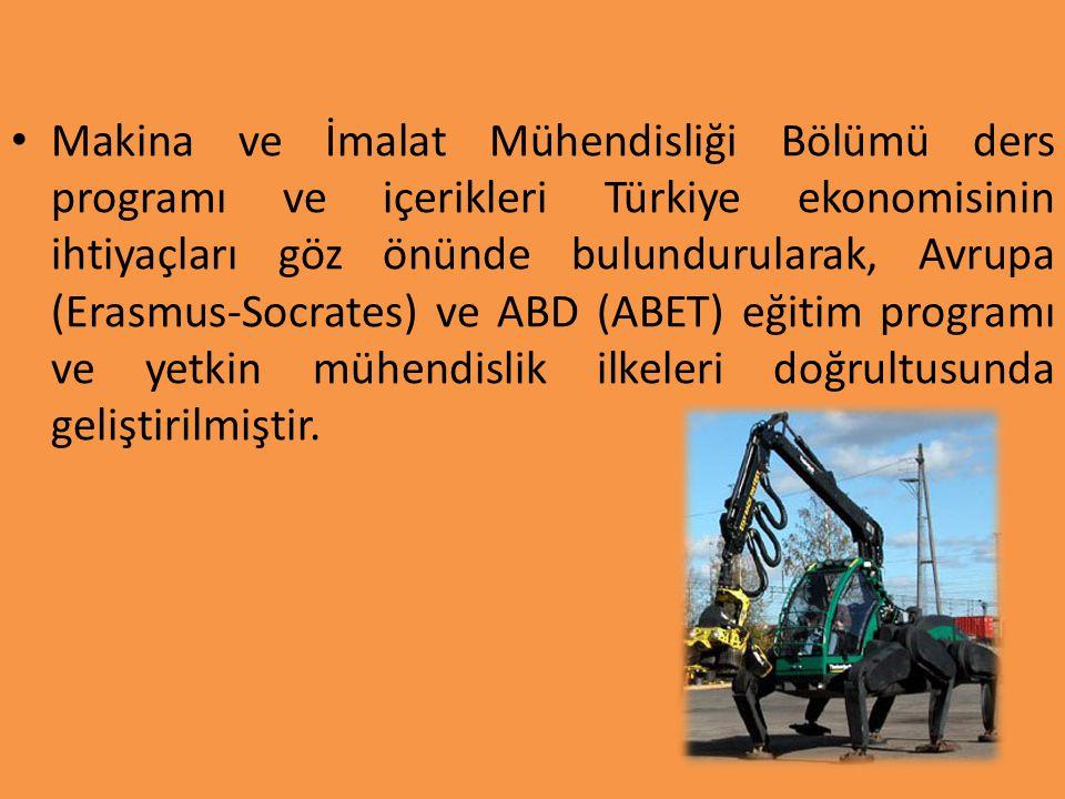 Makina ve İmalat Mühendisliği Bölümü ders programı ve içerikleri Türkiye ekonomisinin ihtiyaçları göz önünde bulundurularak, Avrupa (Erasmus-Socrates)