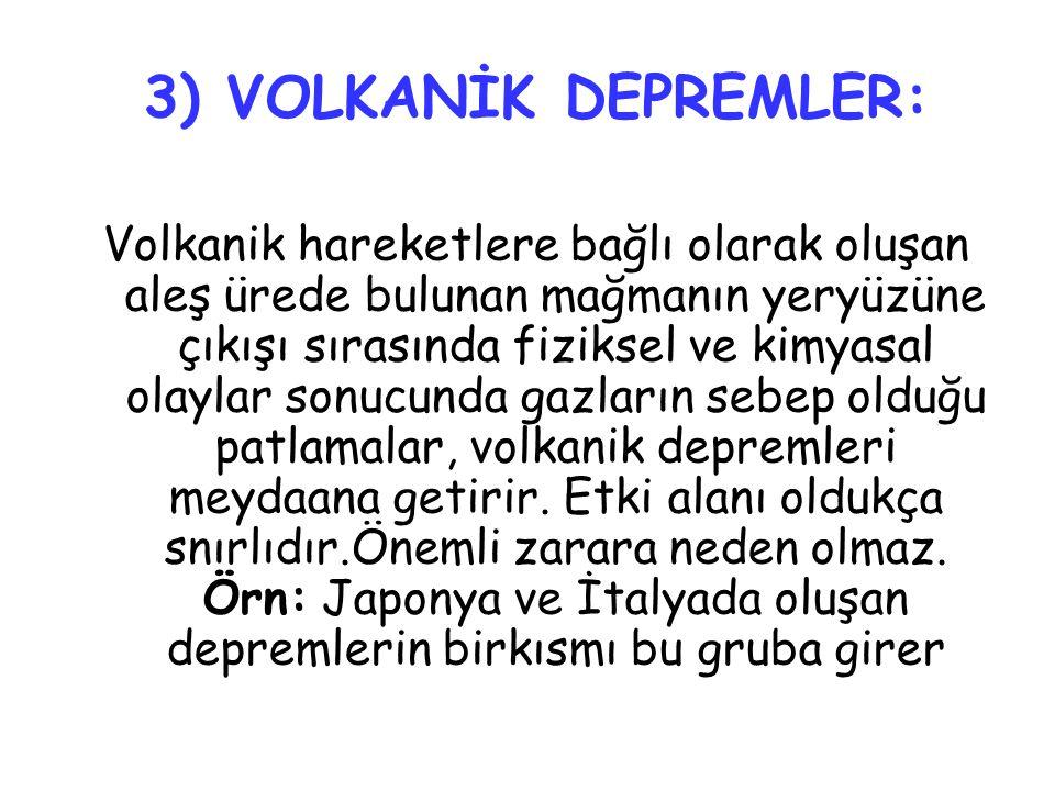 3) VOLKANİK DEPREMLER: Volkanik hareketlere bağlı olarak oluşan aleş ürede bulunan mağmanın yeryüzüne çıkışı sırasında fiziksel ve kimyasal olaylar so
