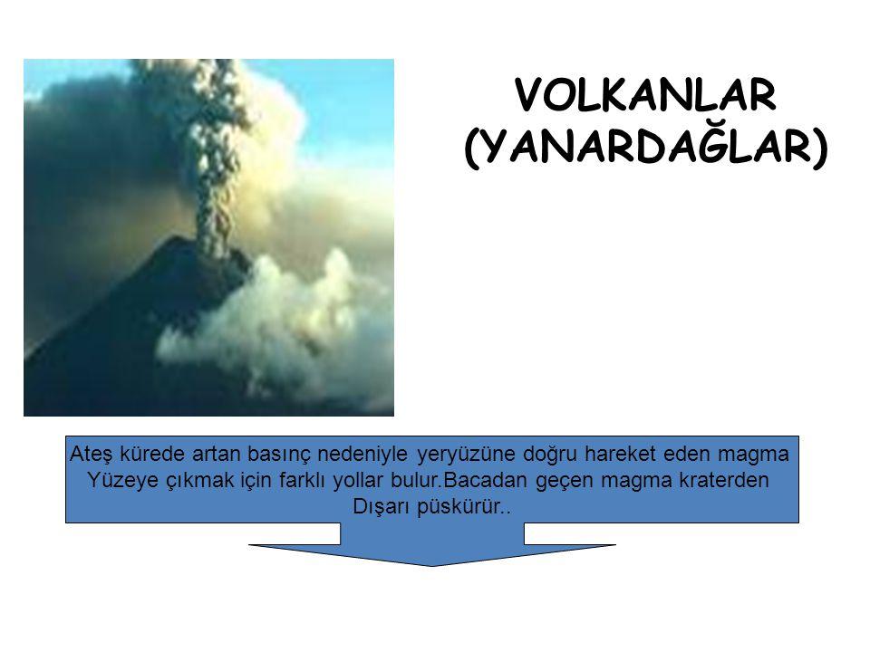 VOLKANLAR (YANARDAĞLAR) Ateş kürede artan basınç nedeniyle yeryüzüne doğru hareket eden magma Yüzeye çıkmak için farklı yollar bulur.Bacadan geçen mag
