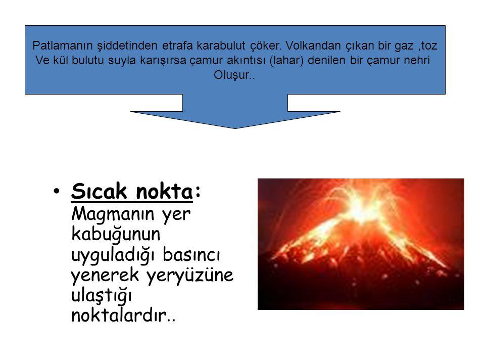 Sıcak nokta: Magmanın yer kabuğunun uyguladığı basıncı yenerek yeryüzüne ulaştığı noktalardır.. Patlamanın şiddetinden etrafa karabulut çöker. Volkand