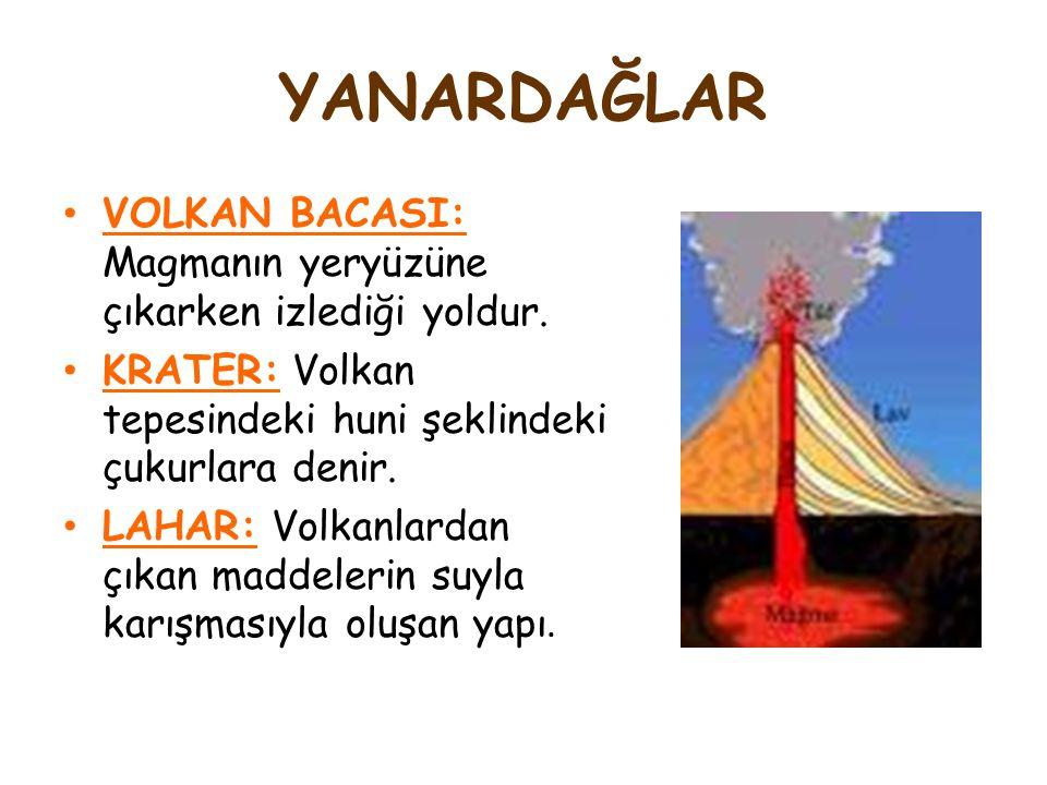 YANARDAĞLAR VOLKAN BACASI: Magmanın yeryüzüne çıkarken izlediği yoldur. KRATER: Volkan tepesindeki huni şeklindeki çukurlara denir. LAHAR: Volkanlarda