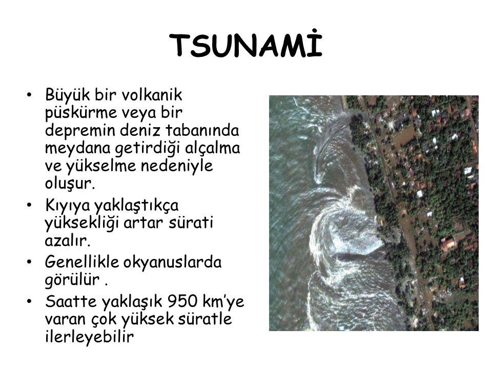 TSUNAMİ Büyük bir volkanik püskürme veya bir depremin deniz tabanında meydana getirdiği alçalma ve yükselme nedeniyle oluşur. Kıyıya yaklaştıkça yükse