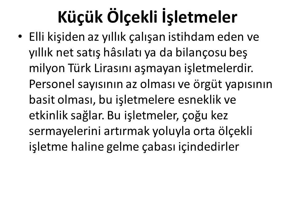 Küçük Ölçekli İşletmeler Elli kişiden az yıllık çalışan istihdam eden ve yıllık net satış hâsılatı ya da bilançosu beş milyon Türk Lirasını aşmayan iş