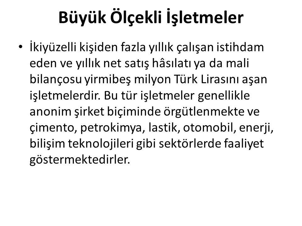 Büyük Ölçekli İşletmeler İkiyüzelli kişiden fazla yıllık çalışan istihdam eden ve yıllık net satış hâsılatı ya da mali bilançosu yirmibeş milyon Türk