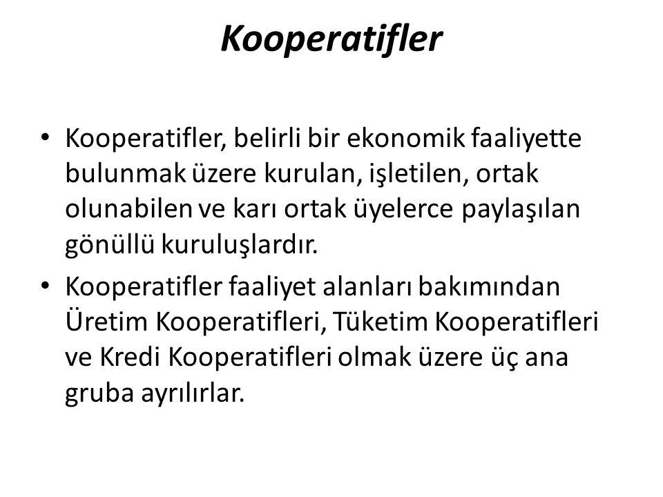 Kooperatifler Kooperatifler, belirli bir ekonomik faaliyette bulunmak üzere kurulan, işletilen, ortak olunabilen ve karı ortak üyelerce paylaşılan gön
