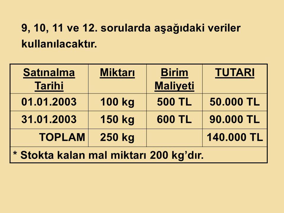9, 10, 11 ve 12. sorularda aşağıdaki veriler kullanılacaktır. Satınalma Tarihi MiktarıBirim Maliyeti TUTARI 01.01.2003100 kg500 TL50.000 TL 31.01.2003