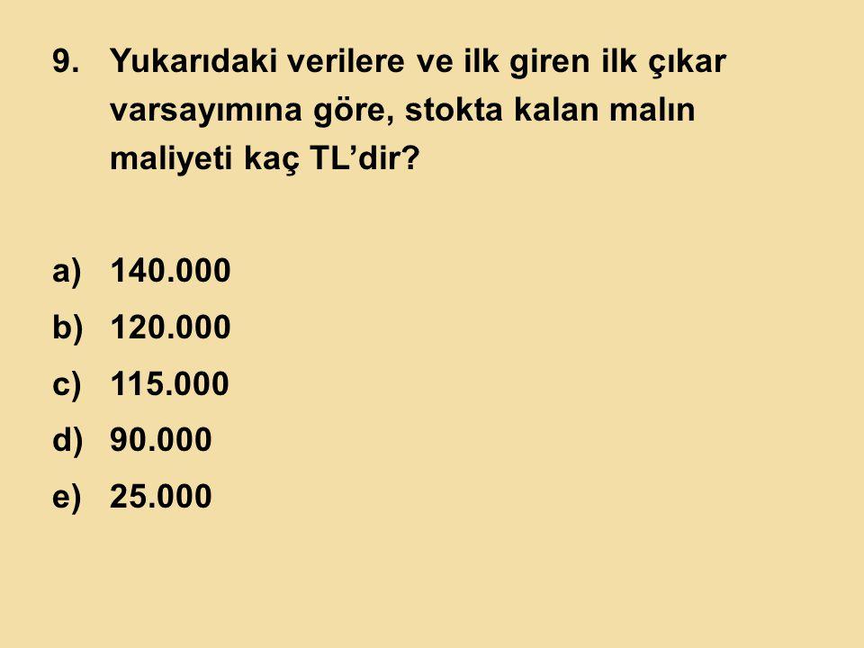 9.Yukarıdaki verilere ve ilk giren ilk çıkar varsayımına göre, stokta kalan malın maliyeti kaç TL'dir? a)140.000 b)120.000 c)115.000 d)90.000 e)25.000