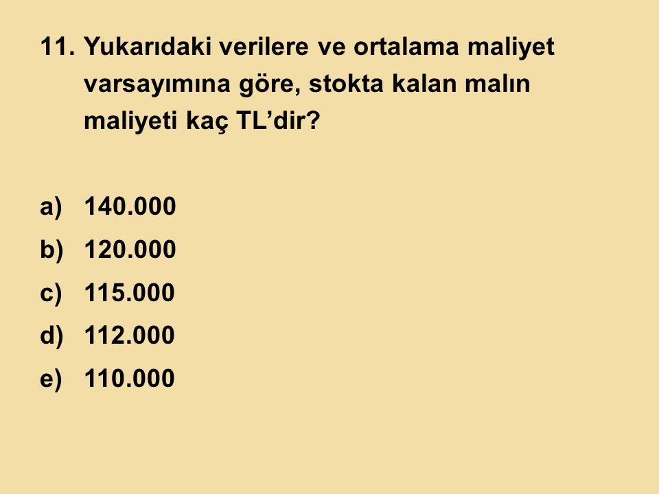 11.Yukarıdaki verilere ve ortalama maliyet varsayımına göre, stokta kalan malın maliyeti kaç TL'dir? a)140.000 b)120.000 c)115.000 d)112.000 e)110.000