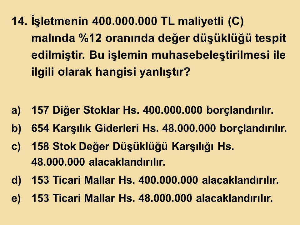 14.İşletmenin 400.000.000 TL maliyetli (C) malında %12 oranında değer düşüklüğü tespit edilmiştir. Bu işlemin muhasebeleştirilmesi ile ilgili olarak h