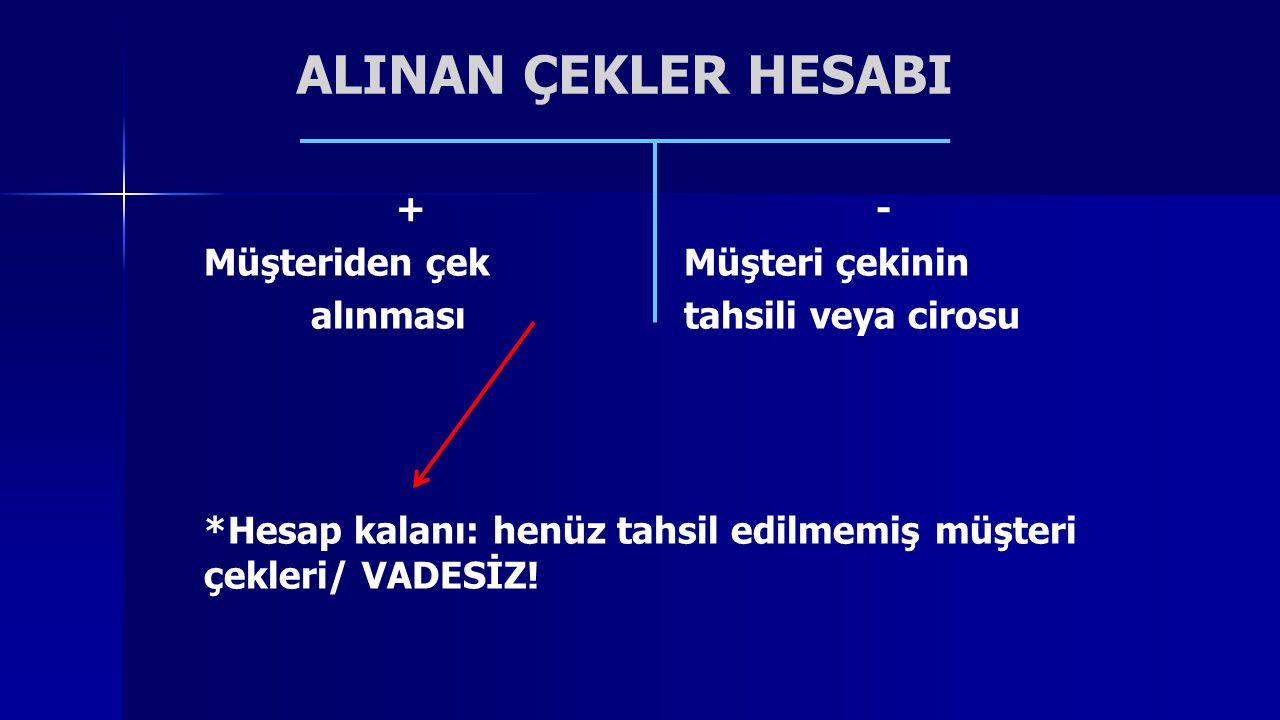 ALINAN ÇEKLER HESABI +-+- Müşteriden çek Müşteri çekinin alınması tahsili veya cirosu *Hesap kalanı: henüz tahsil edilmemiş müşteri çekleri/ VADESİZ!