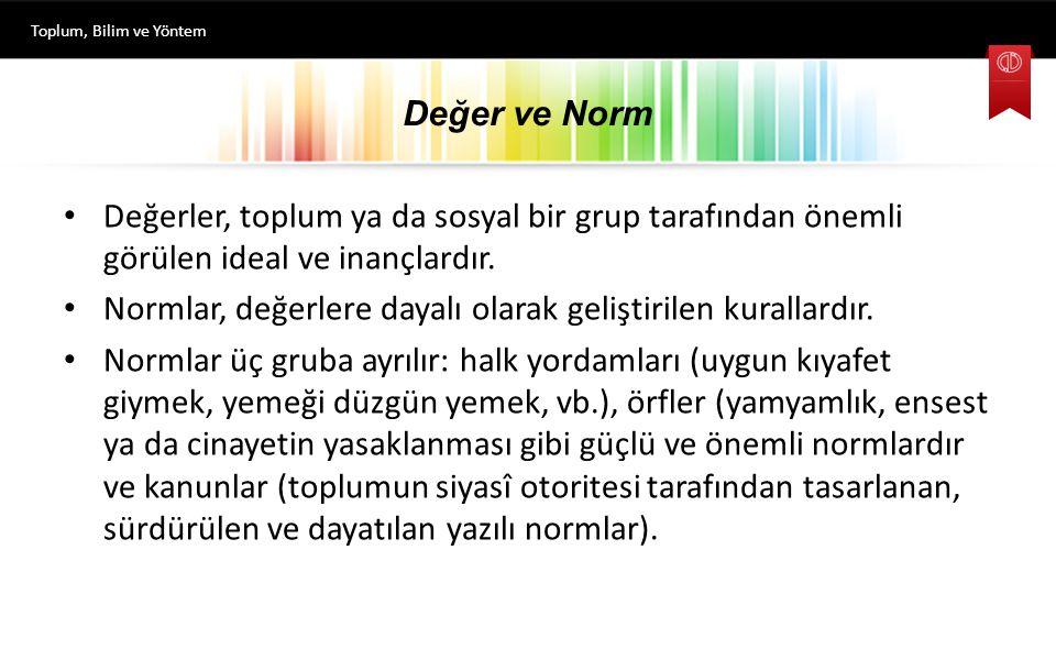 Değer ve Norm Değerler, toplum ya da sosyal bir grup tarafından önemli görülen ideal ve inançlardır. Normlar, değerlere dayalı olarak geliştirilen kur