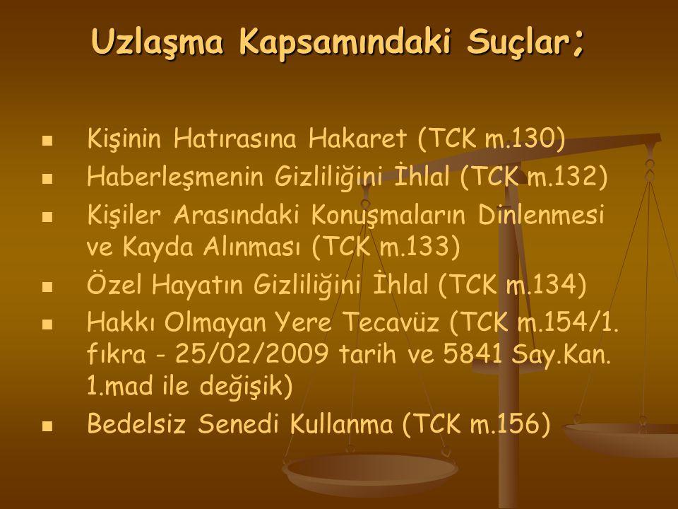 Uzlaşma Kapsamındaki Suçlar ; Kişinin Hatırasına Hakaret (TCK m.130) Haberleşmenin Gizliliğini İhlal (TCK m.132) Kişiler Arasındaki Konuşmaların Dinlenmesi ve Kayda Alınması (TCK m.133) Özel Hayatın Gizliliğini İhlal (TCK m.134) Hakkı Olmayan Yere Tecavüz (TCK m.154/1.