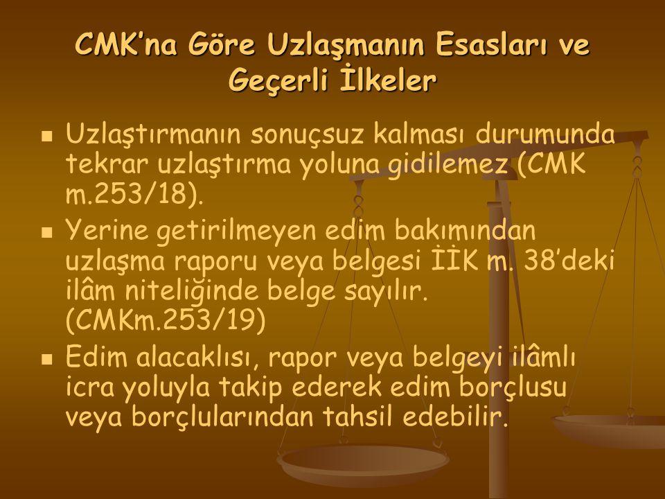CMK'na Göre Uzlaşmanın Esasları ve Geçerli İlkeler Uzlaştırmanın sonuçsuz kalması durumunda tekrar uzlaştırma yoluna gidilemez (CMK m.253/18).